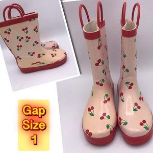 Girls Gap Cherry 🍒 Rain Boots Size 1
